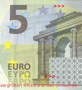 5 Euro mit verborgenem okkultem missbrauchtem Symbol