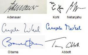 Schrift Adenauer, Kohl, Netanjahu, Merkel, Obama, Abbott,
